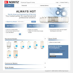 Noritz Boosts Tankless Water Heater Service Quality with New Technical Support Web Site and In-House Call Center